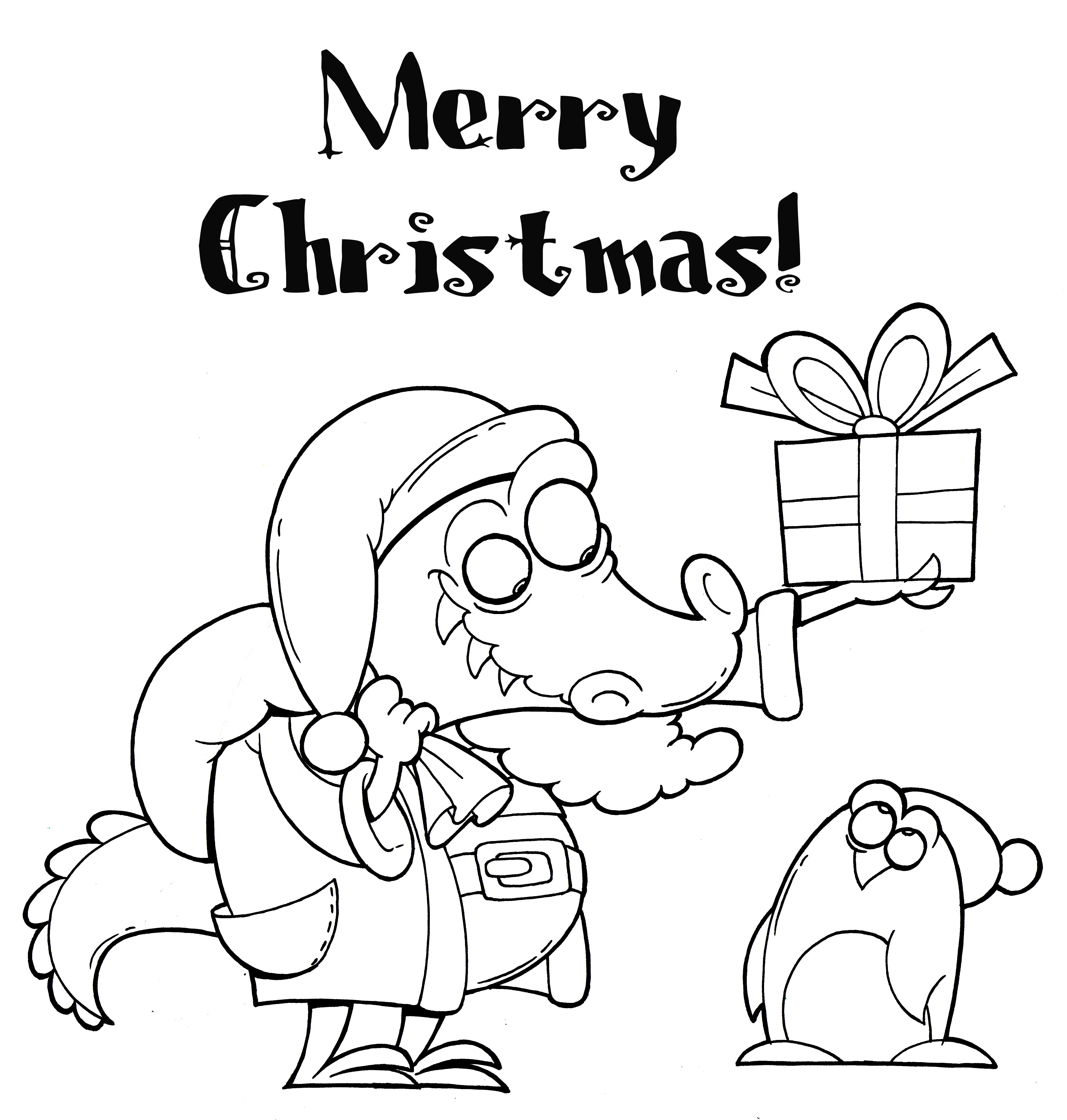 Christmas Crocodile Coloring Page | Coloring Pages